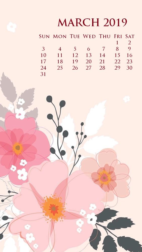 Floral March 2019 iPhone Calendar Screensaver Background