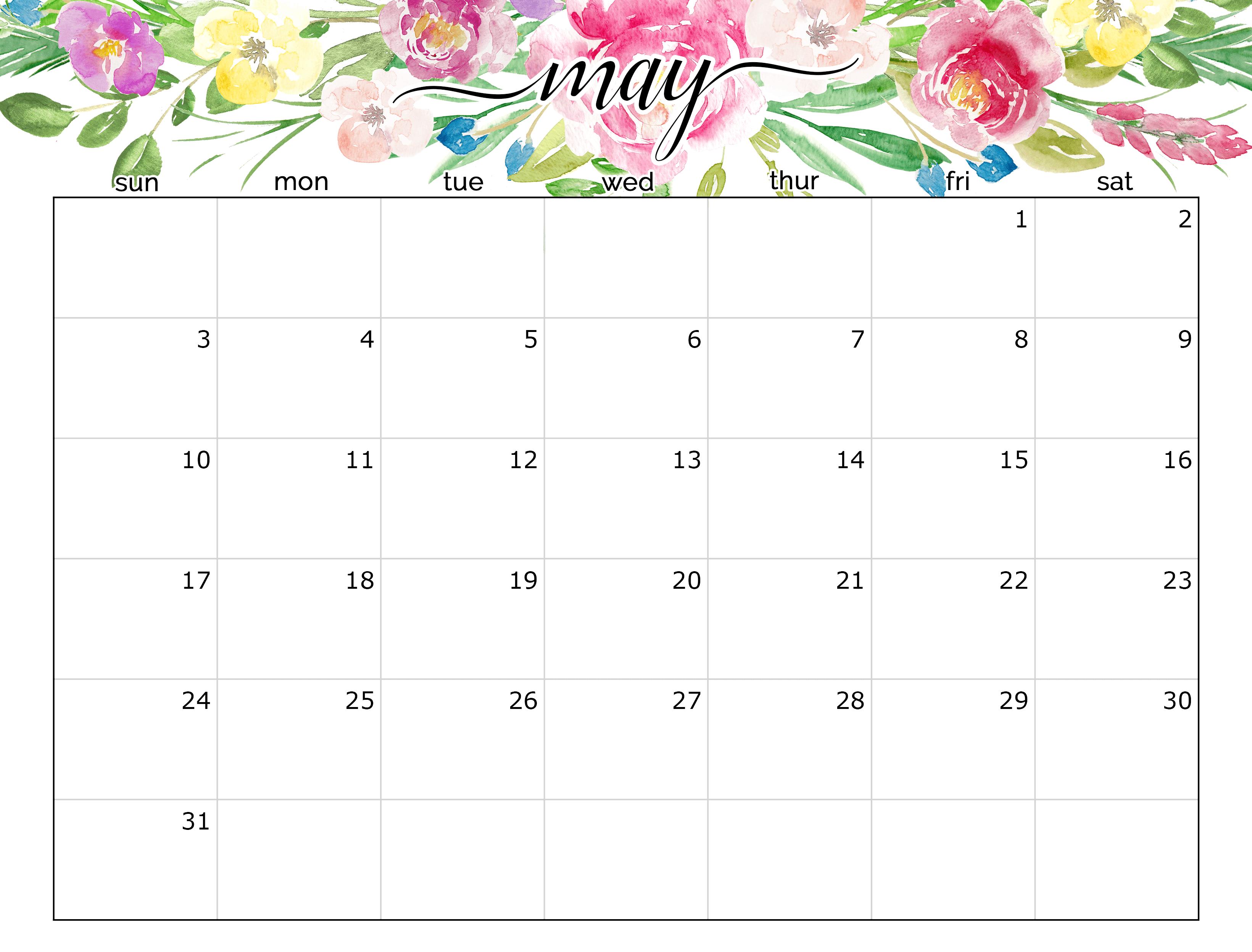 Floral May 2020 Calendar Cute