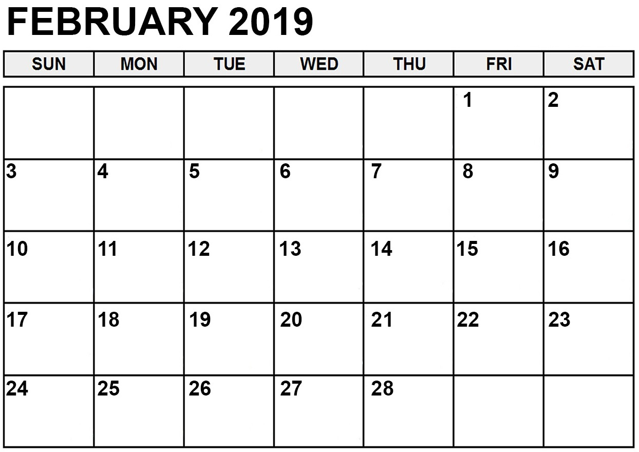 Free Editable February 2019 Calendar