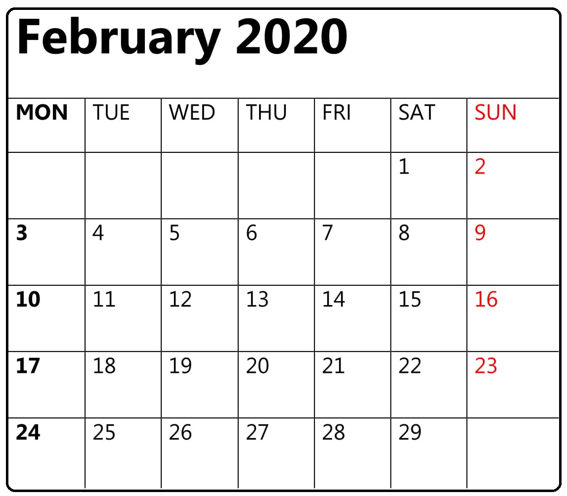 Free Printable February 2020 Calendar Editable Template Word