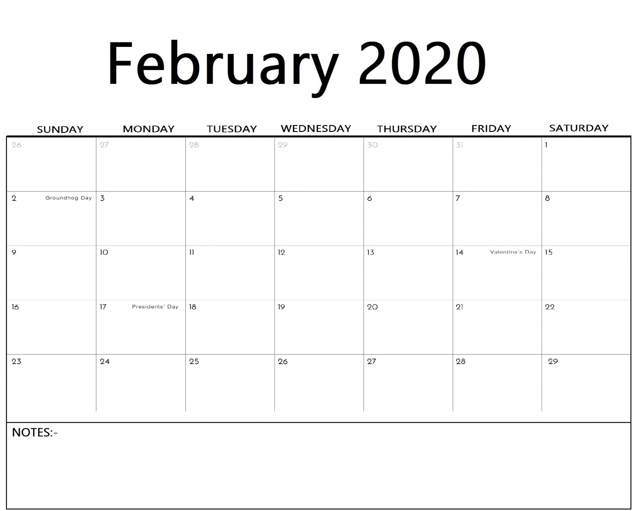 Free Printable February Calendar 2020 Templates