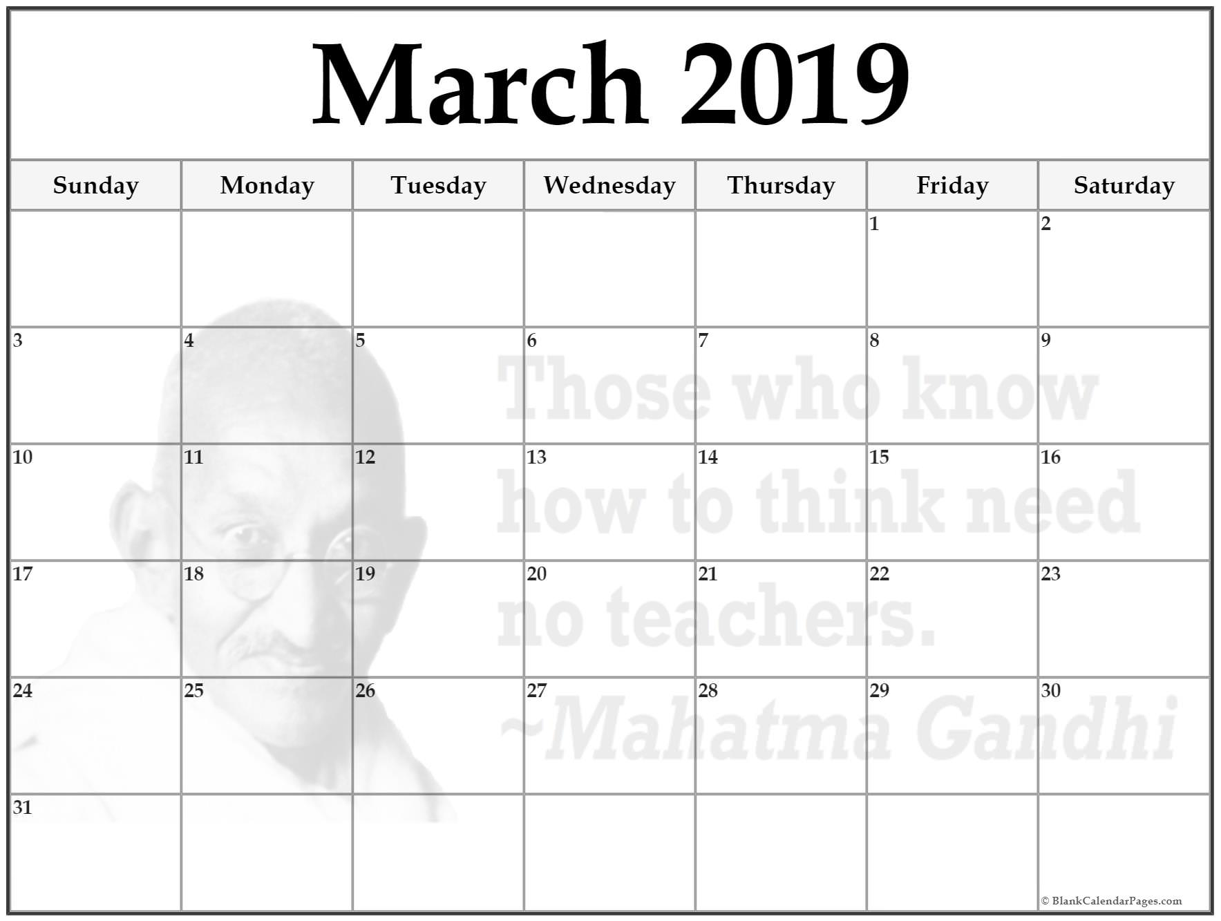 Free Printable March 2019 Calendar Template
