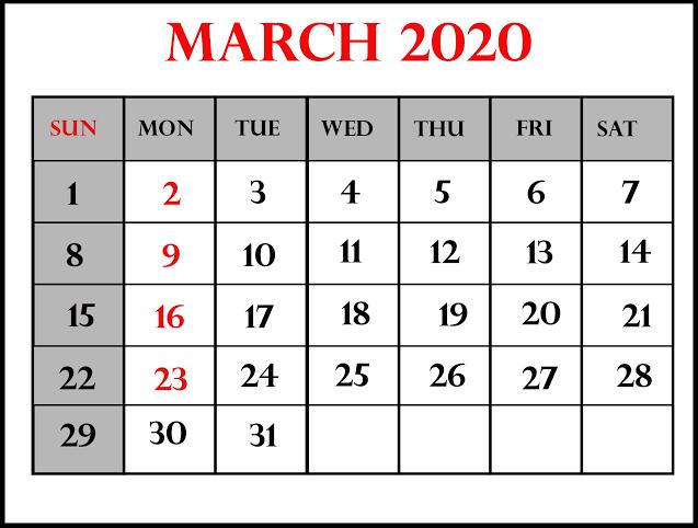 Holidays Calendar March 2020