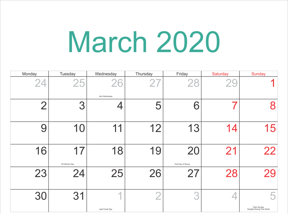 Holidays Calendar Template March 2020