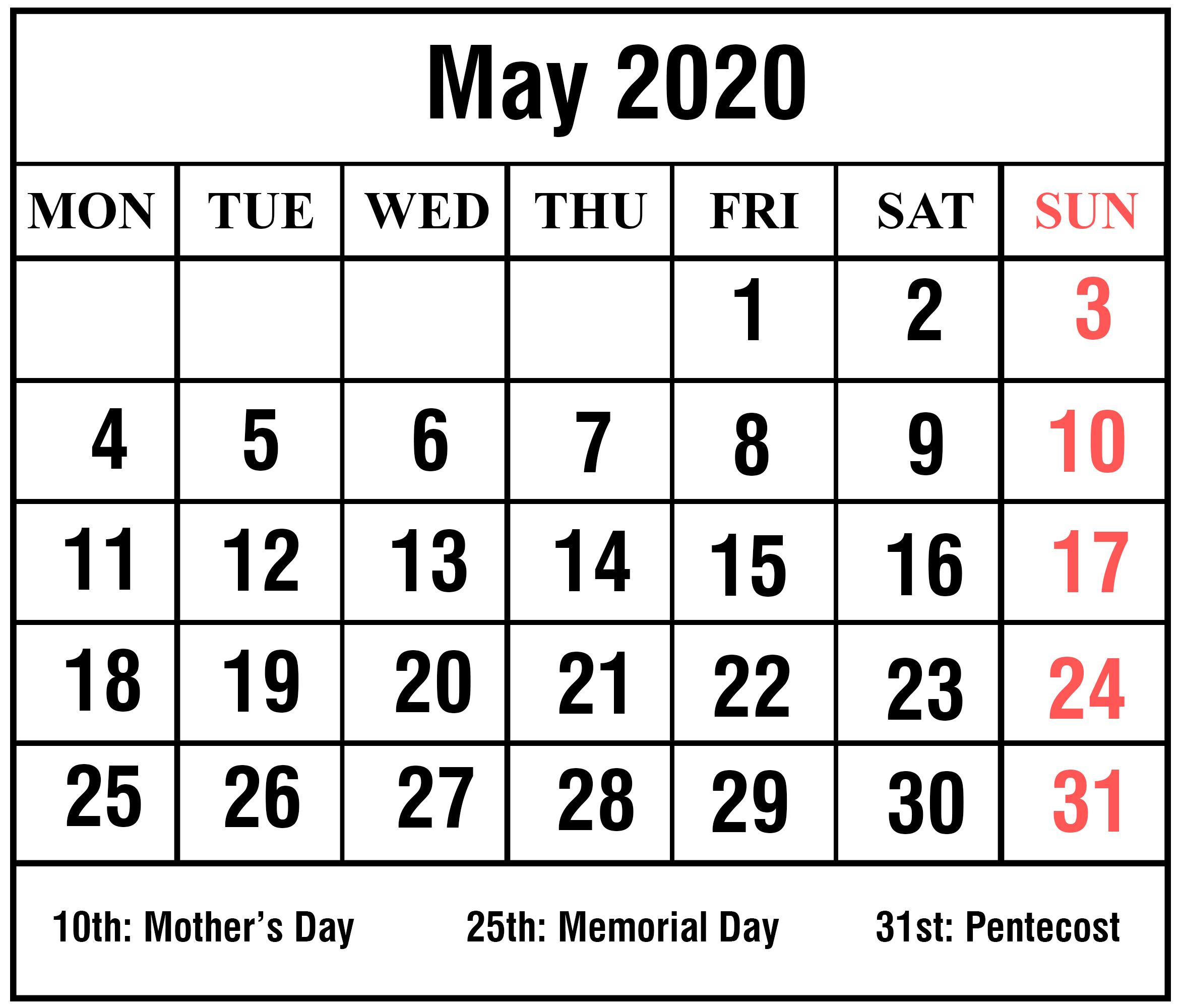 Holidays Calendar Template May 2020