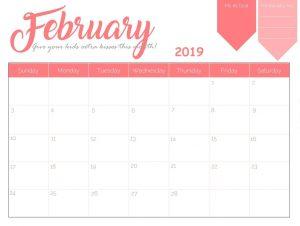 Inspiring Wall Calendar For February 2019