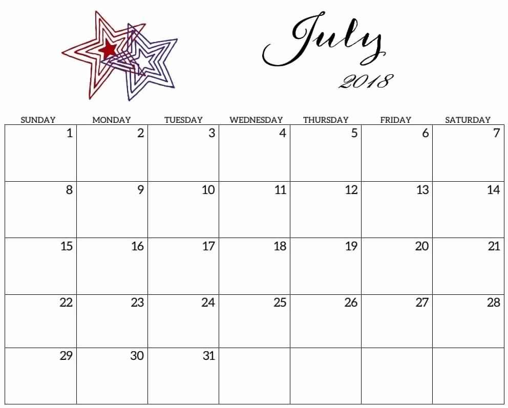 July Printable Calendar 2019