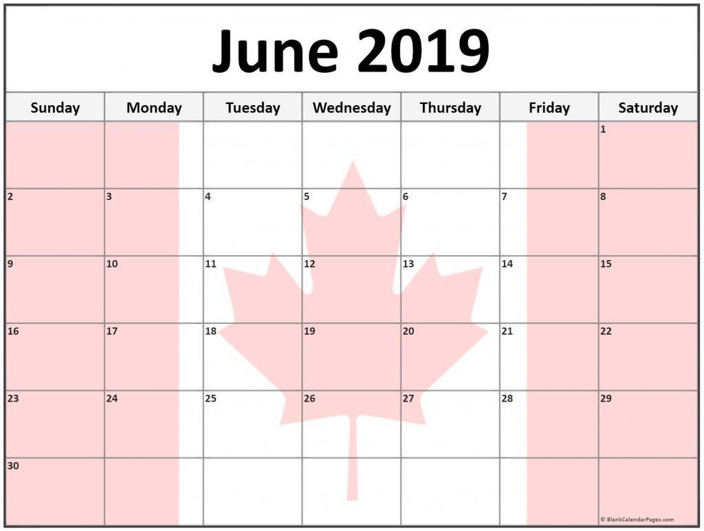 June 2019 Calendar Canada