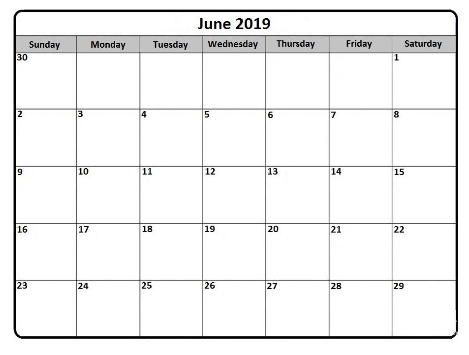 June 2019 Calendar Printable Free Printable Calendar Templates