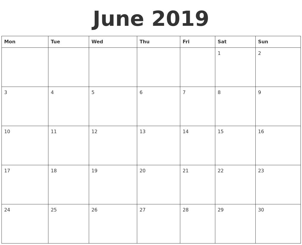june 2019 calendar printable template in pdf word excel