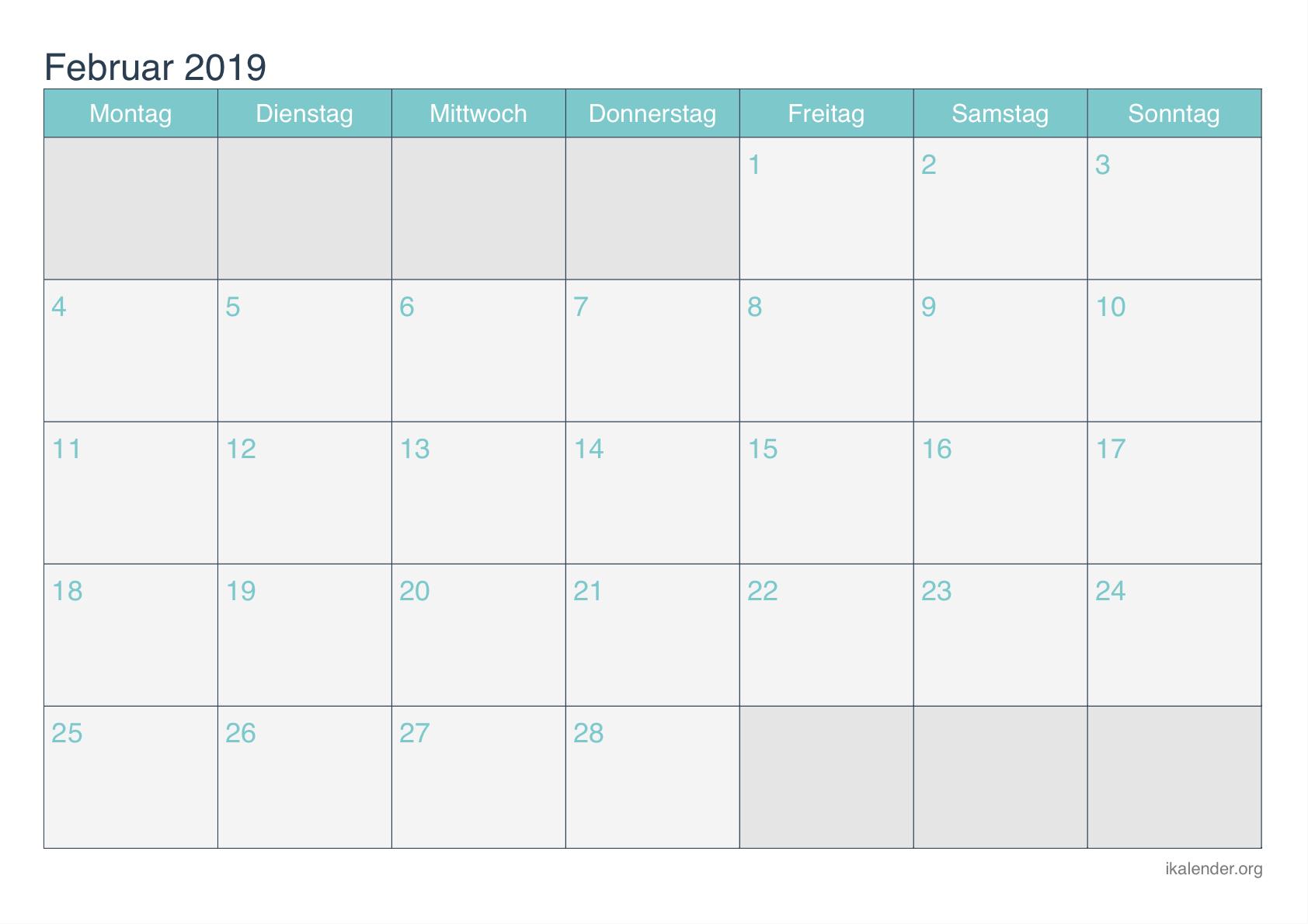 Kalender 2019 Frei Februar