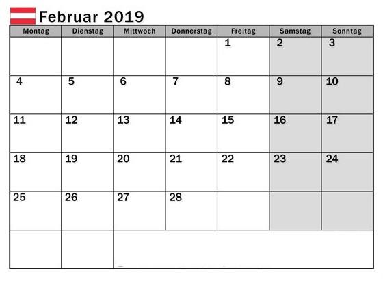 Kalender Februar 2019 Argentina