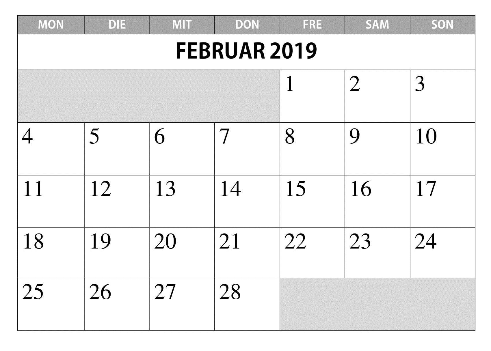 Kalender Februar 2019 Leer Zum Ausdrucken