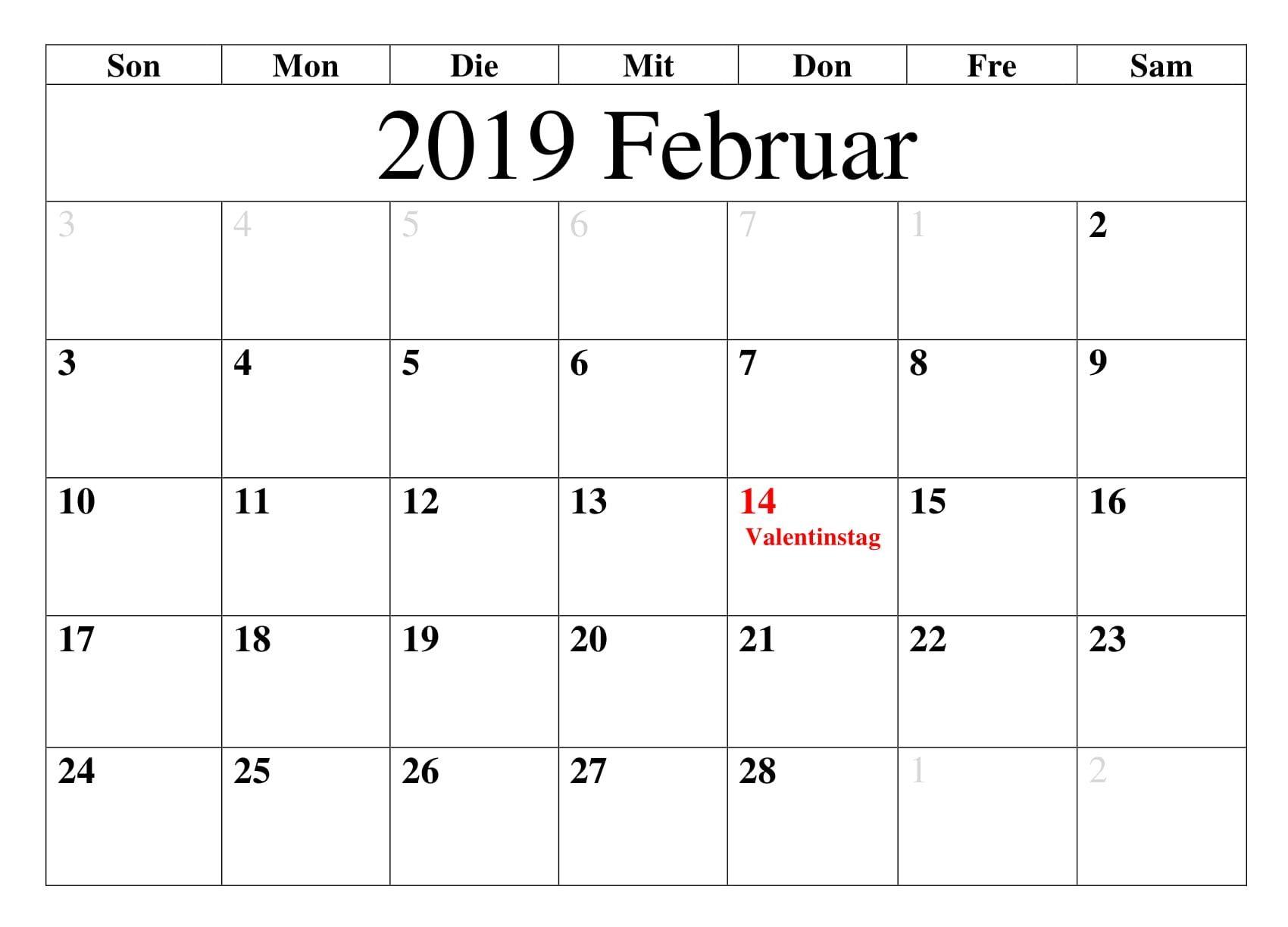 Kalender Februar2019 Mit Feiertagen