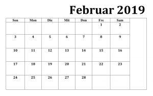 Kalender Februar 2019 Mit Notizen