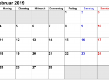 Kalender Februar 2019 Word