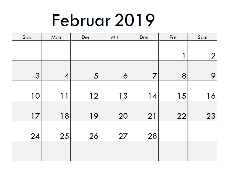 Kalender Februar 2019 Zum Ausdrucken