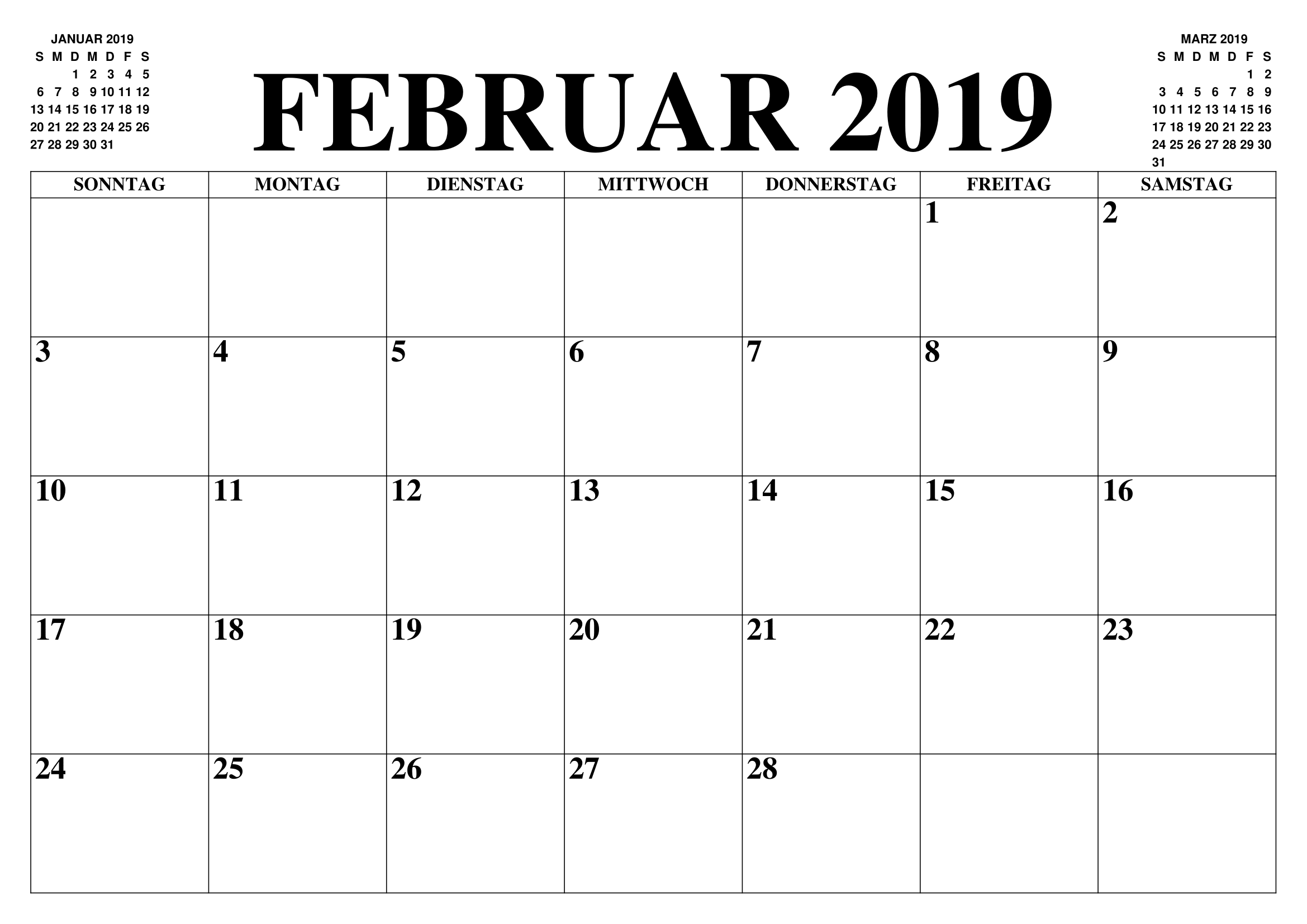 Kalender Februar 2019