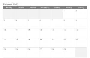 Kalender Februar 2020 Bayern