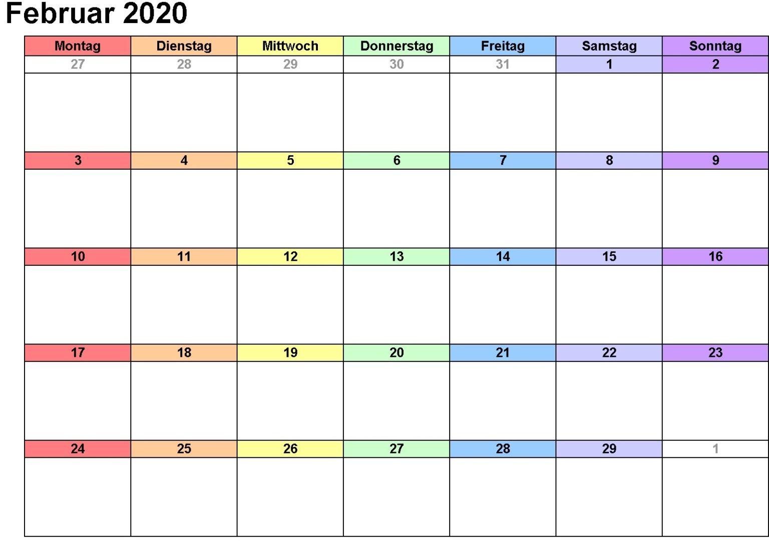 Kalender Februar 2020 Mit Feiertagen Diagramm