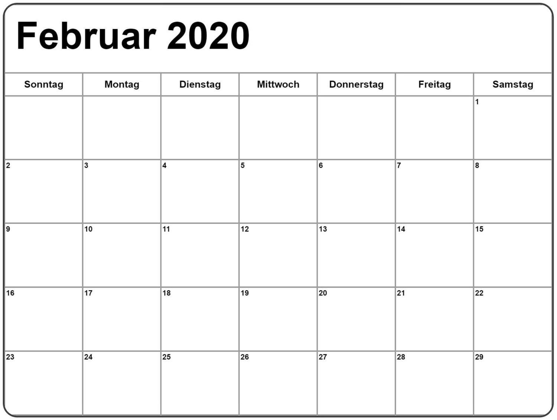 Kalender Februar 2020 Mit Feiertagen Leer