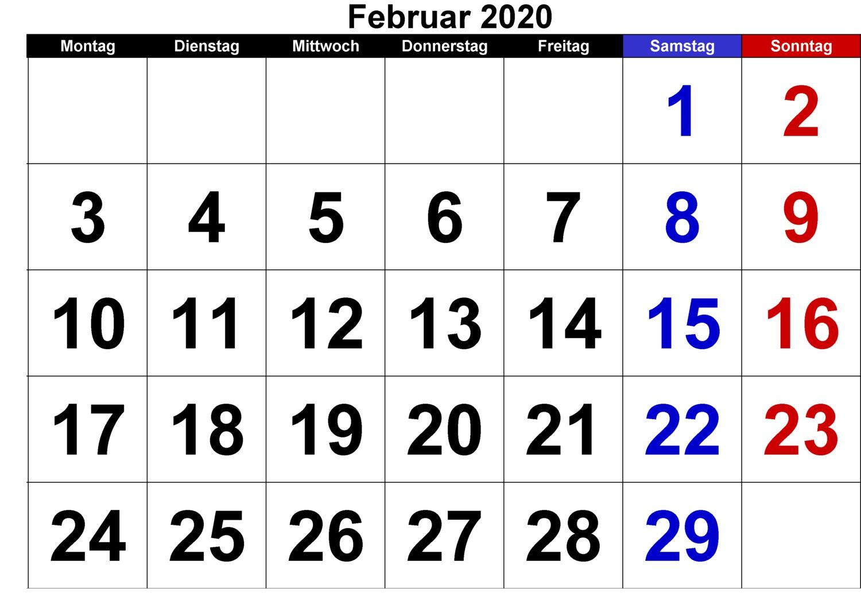 Kalender Februar 2020 Mit Feiertagen Monatlich