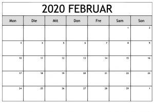 Kalender Februar 2020 Mit Feiertagen Monats