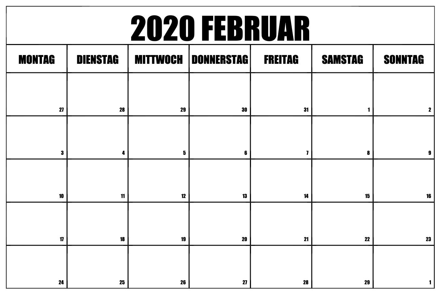 Kalender Februar 2020 PDF