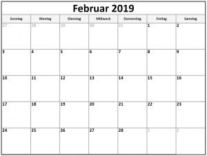 Kalender Februar 2020 Zum Ausdrucken