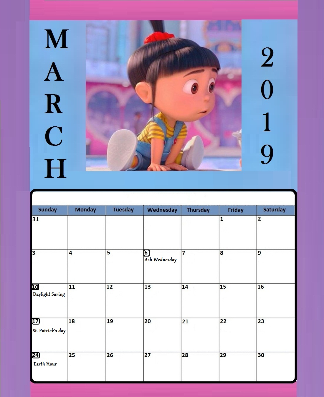 March 2019 Best Holiday Template