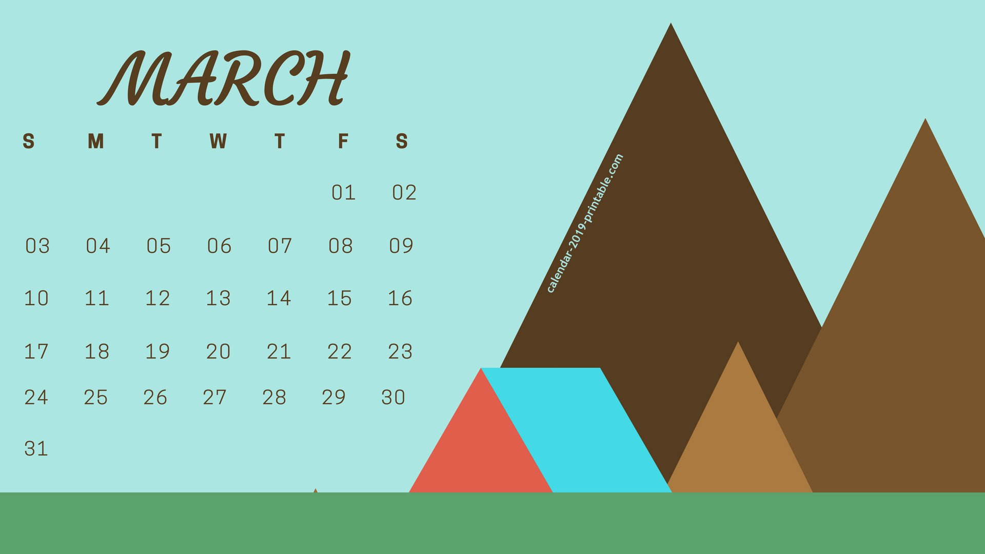 March 2019 Calendar Desktop Wallpaper