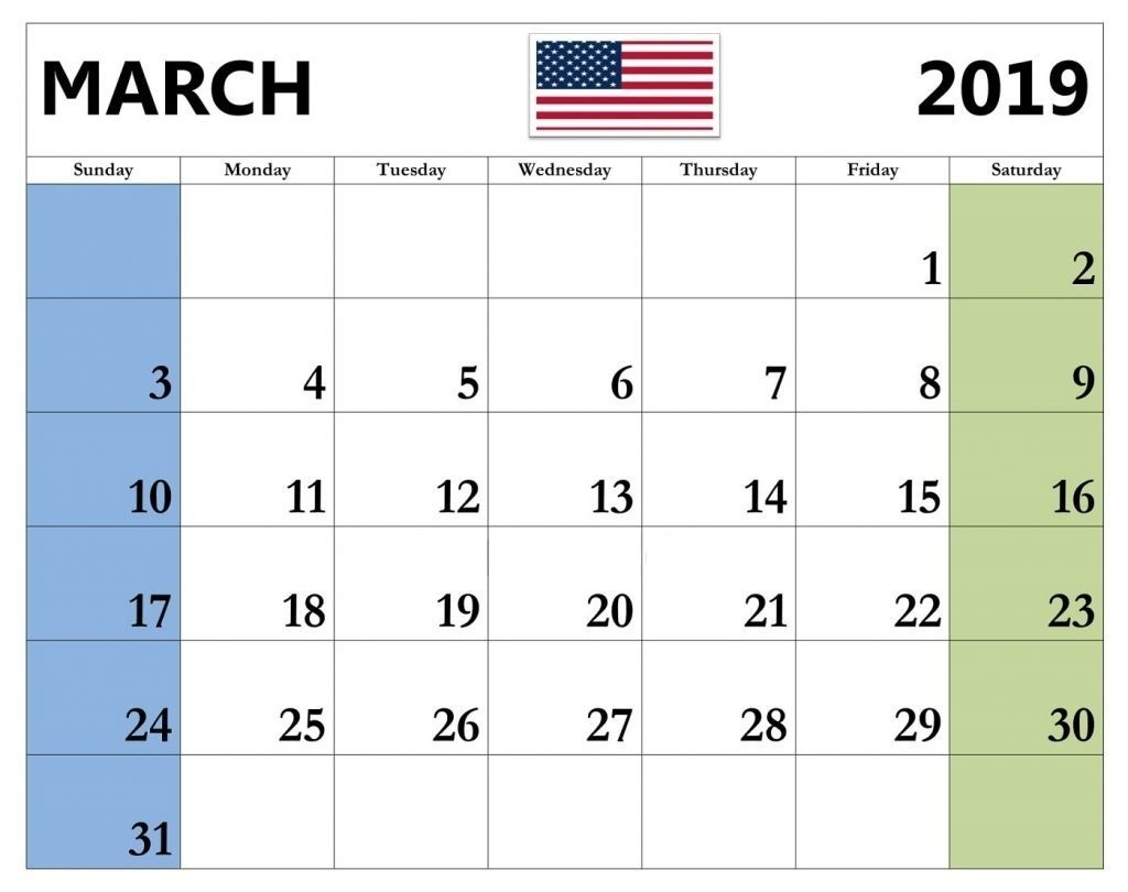 March 2019 Calendar With Holidays USA