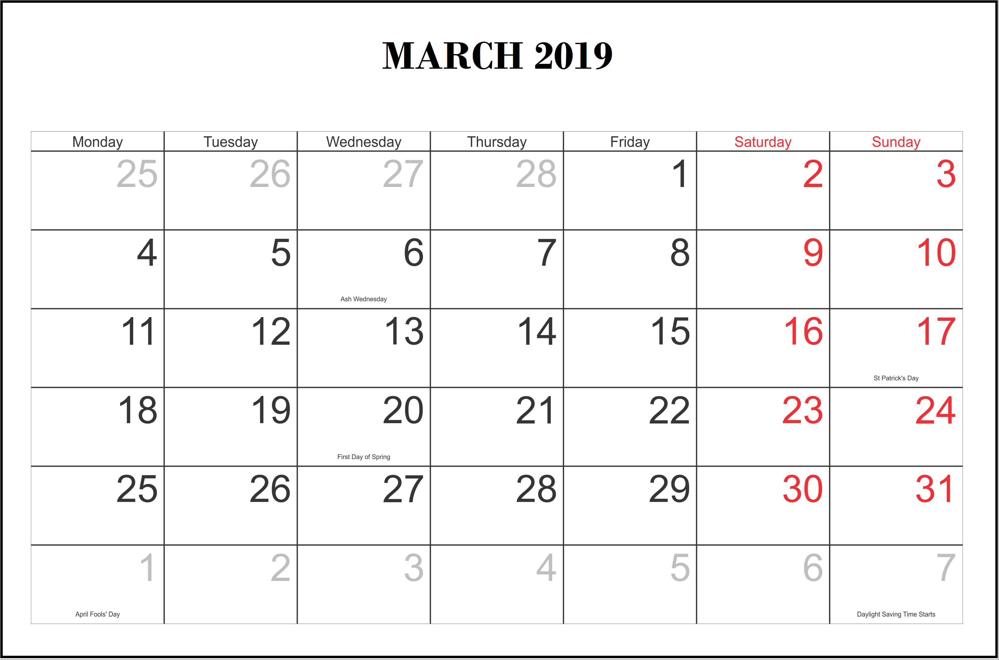 March 2019 Calendar With Holidays
