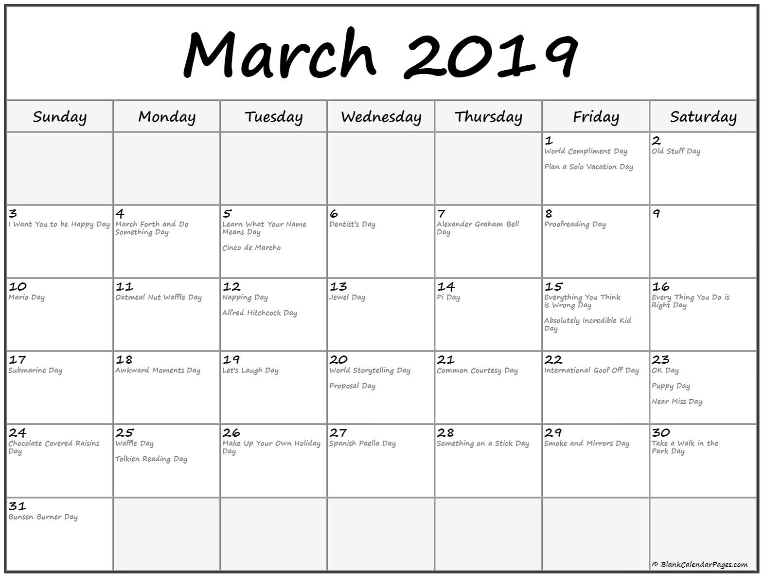 March 2019 Federal Holidays Calendar
