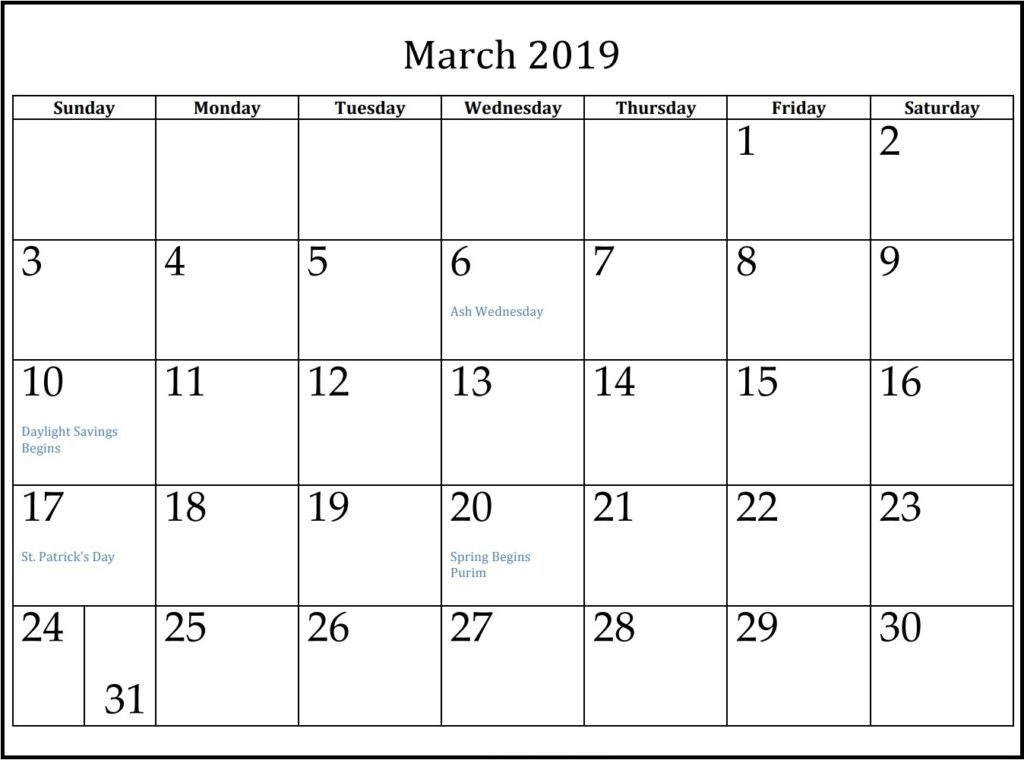 March 2019 Holidays Calendar Template