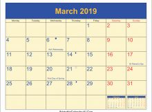 March 2019 Holidays Calendar With Moon Phases