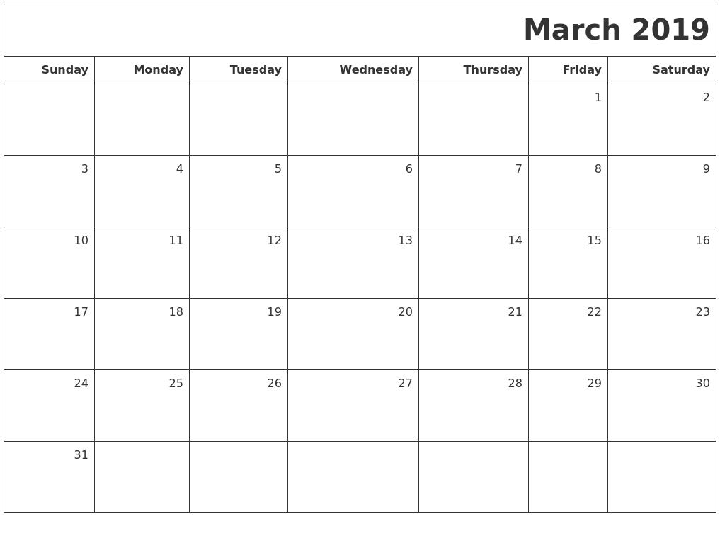 March 2019 Printable Calendar Template