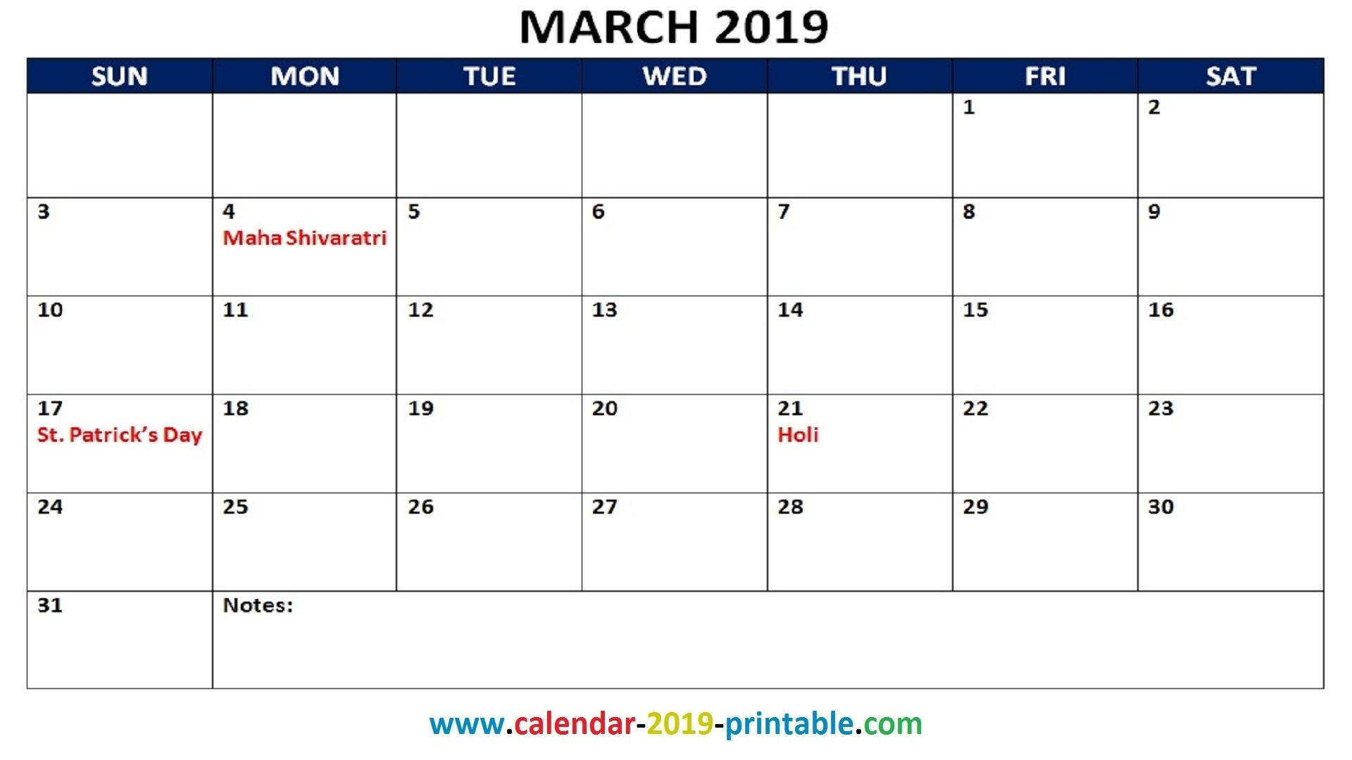 March 2019 Printable Calendar With Holidays