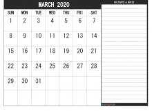 March 2020 Calendar Blank