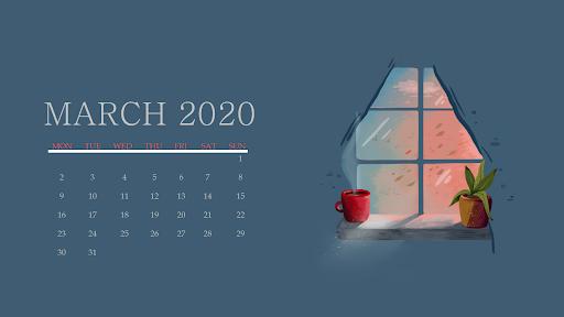 March 2020 Calendar Screensaver