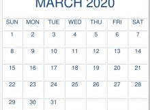 March 2020 Calendar Template Excel