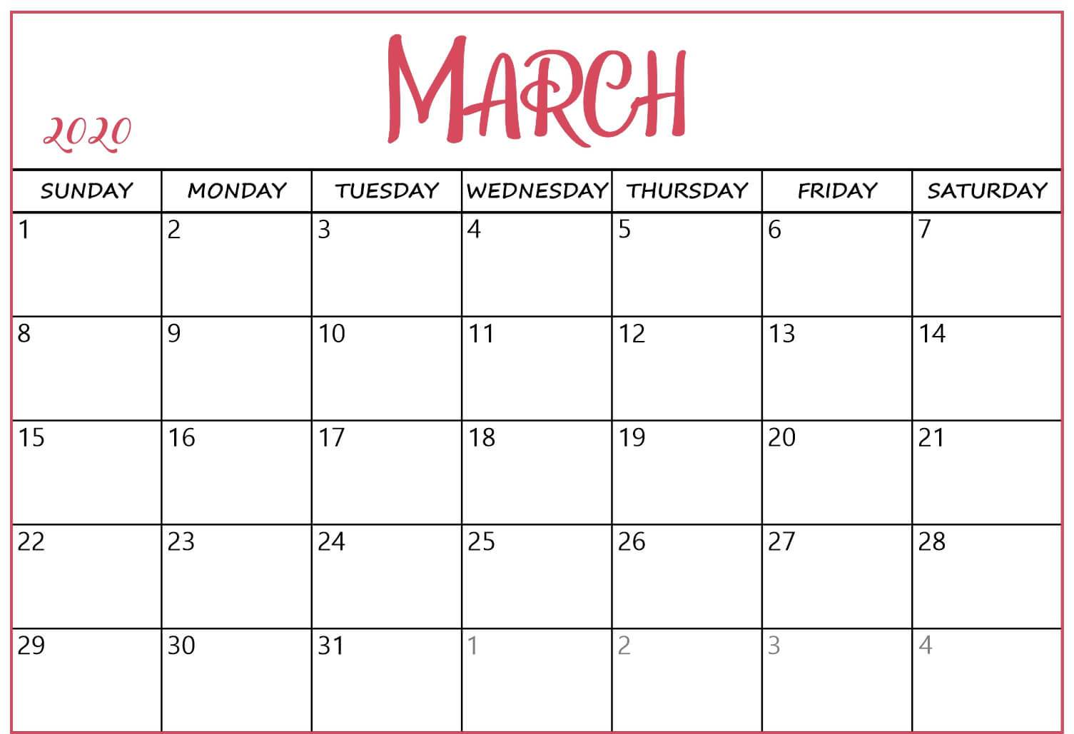 March 2020 Calendar Template Word