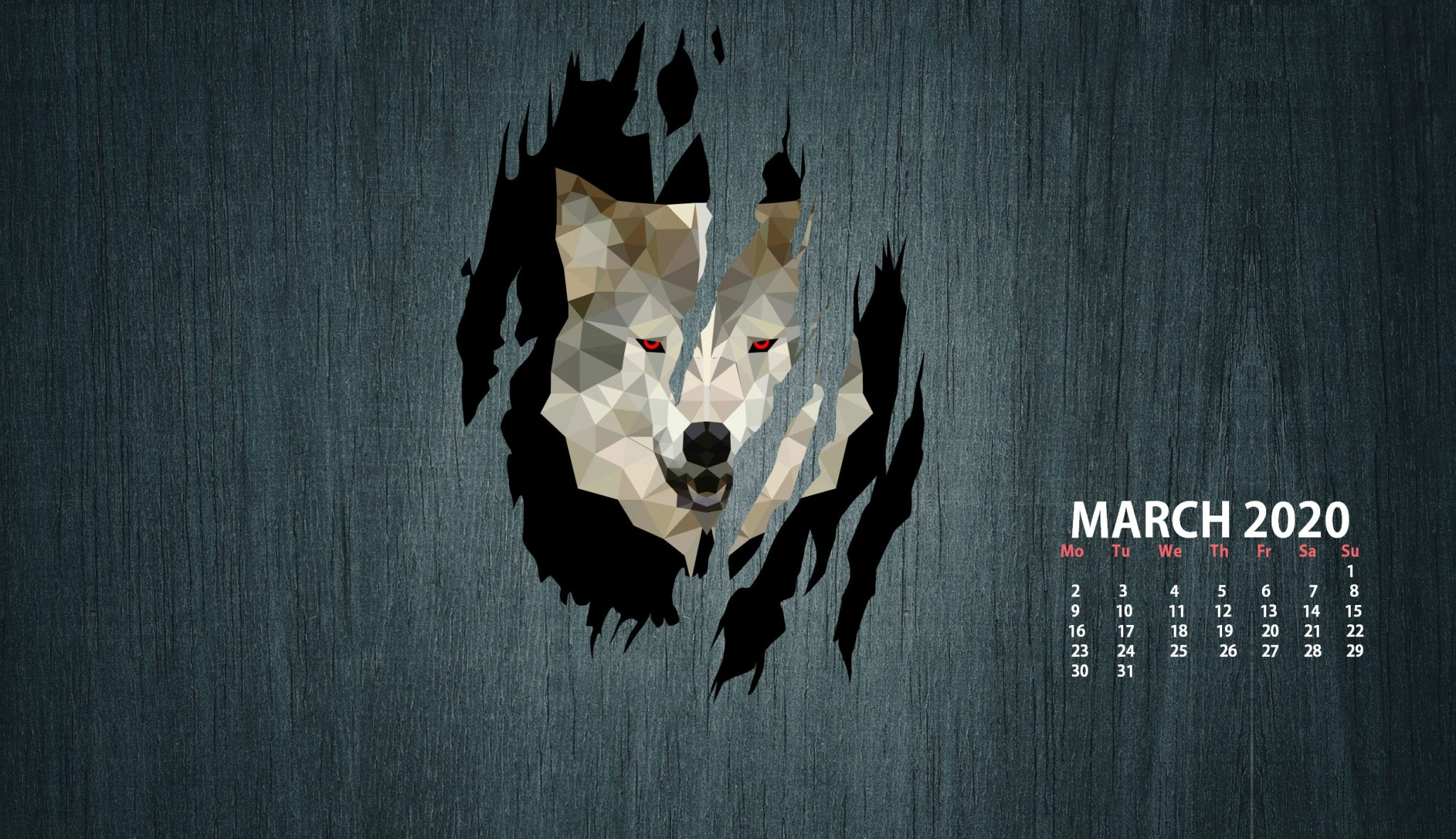 March 2020 Desktop Wallpaper Calendar