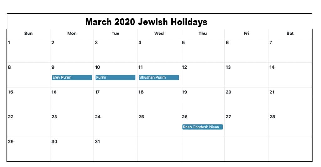 March 2020 Jewish Holidays