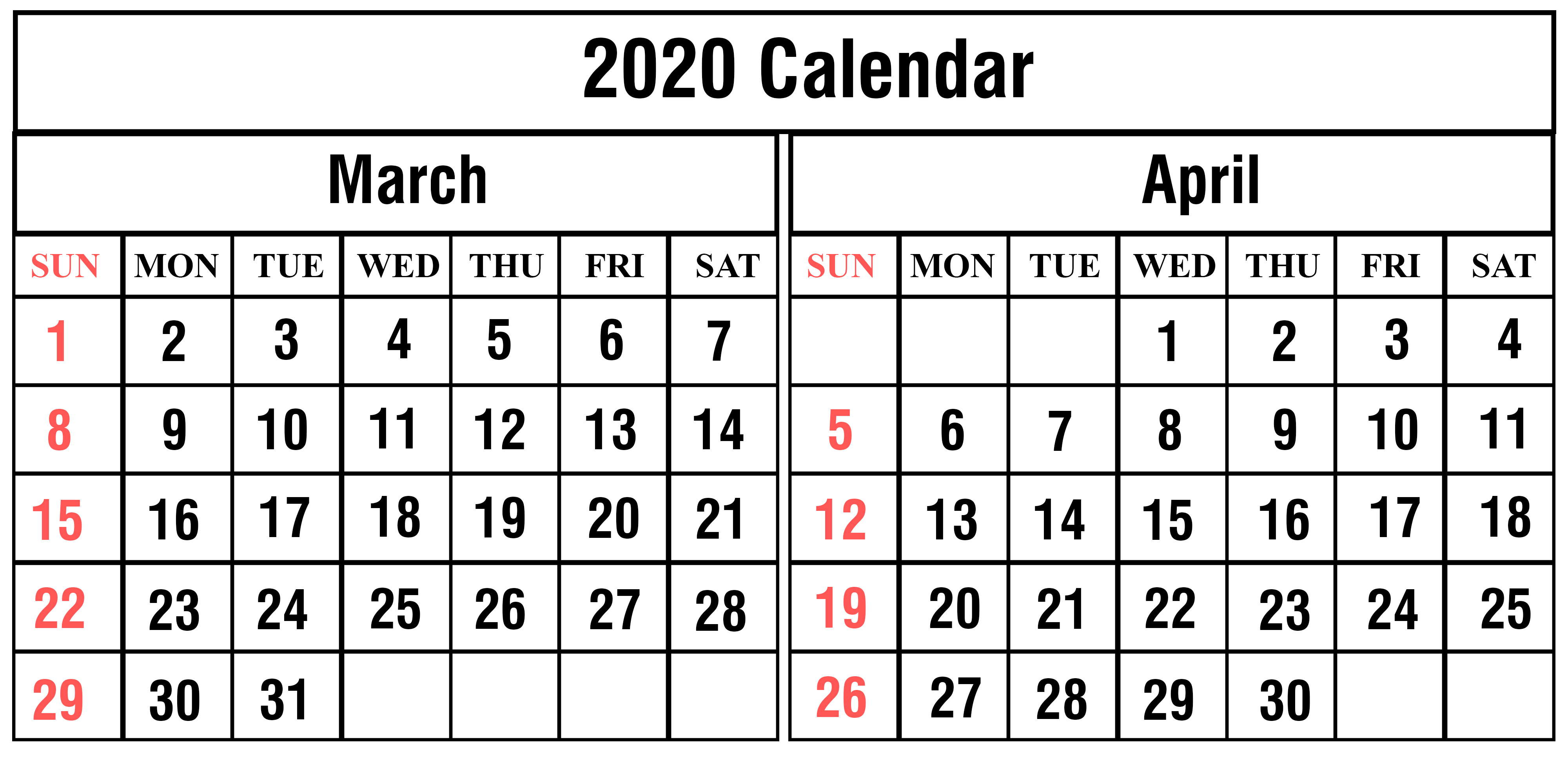 March April 2020 Printable Calendar