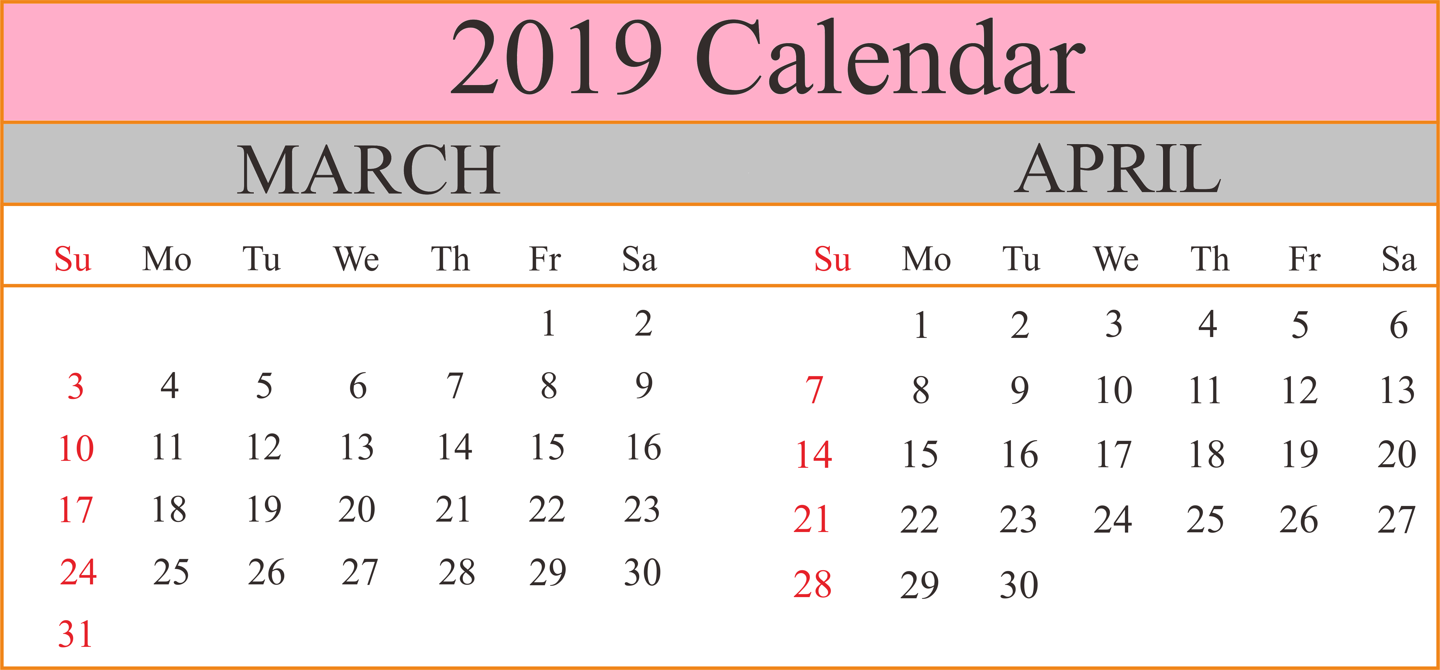March and April 2019 Printable Calendar