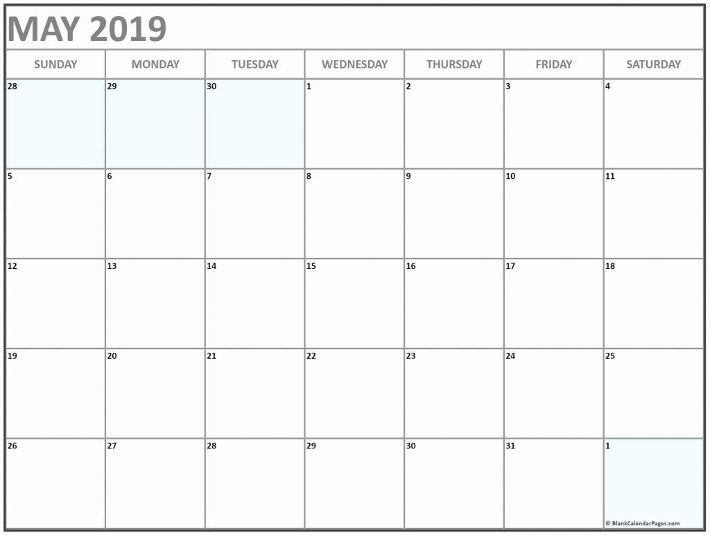 May 2019 Blank Calendar