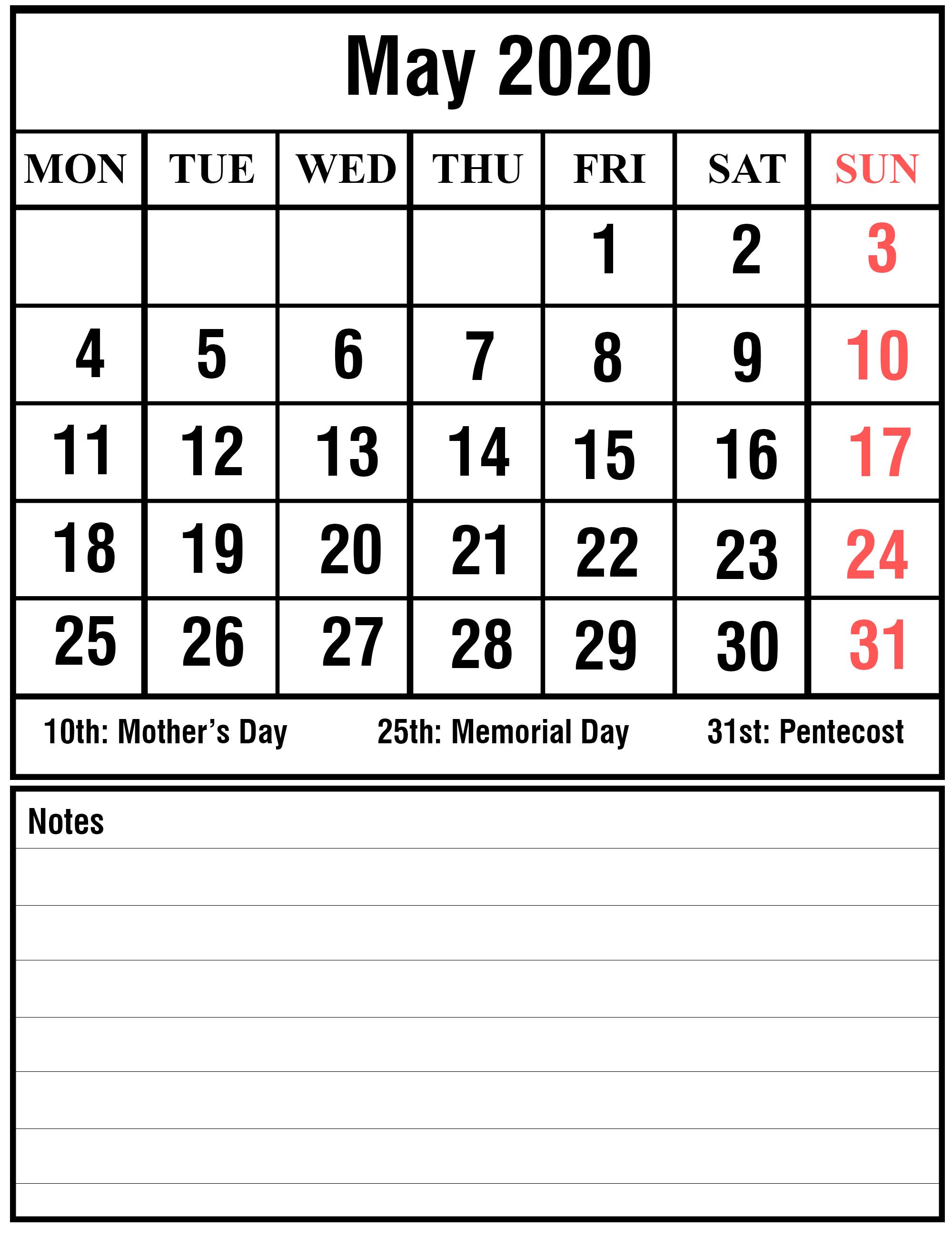 May 2020 Calendar Portrait