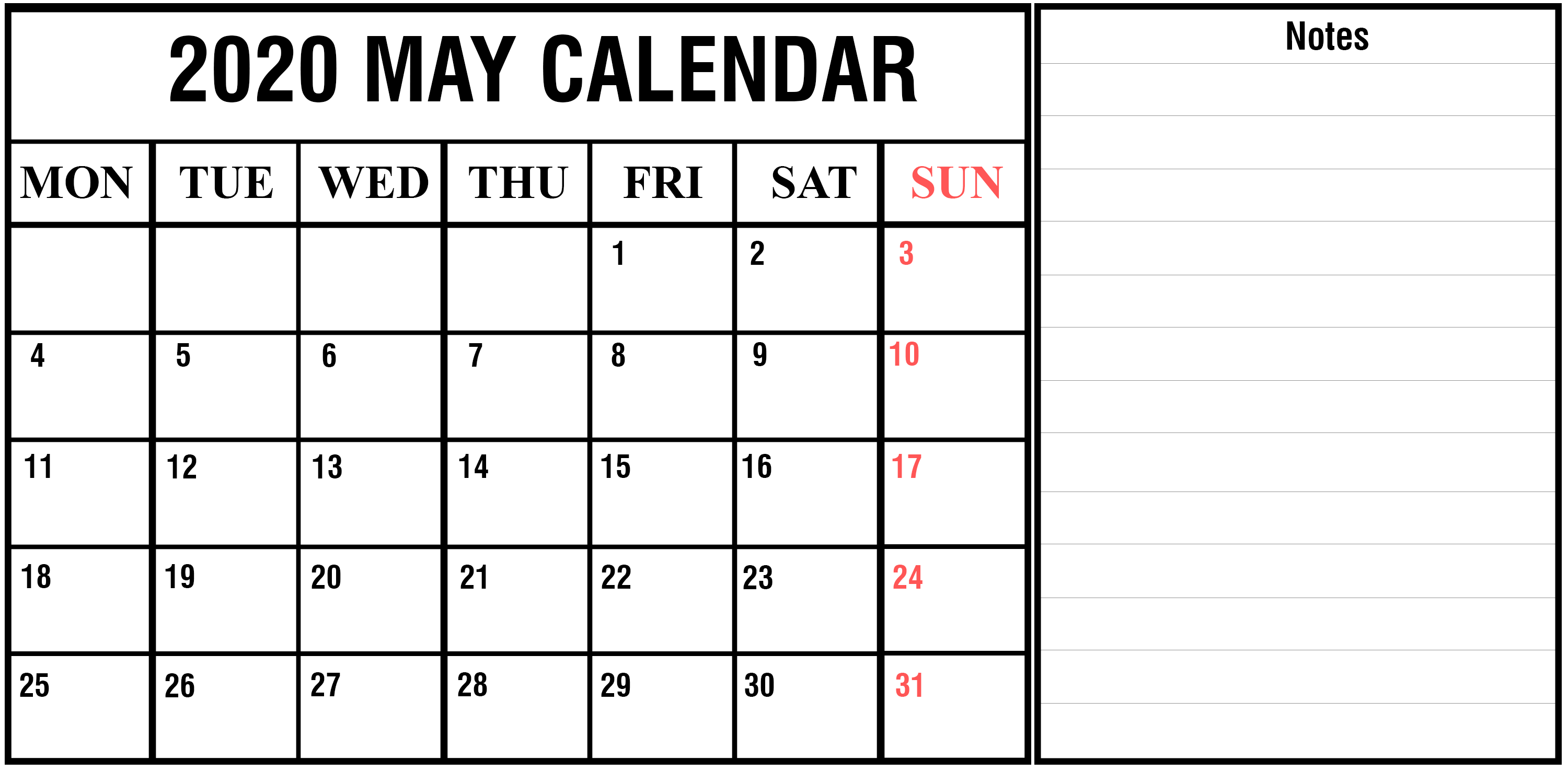 May 2020 Calendar with Notes