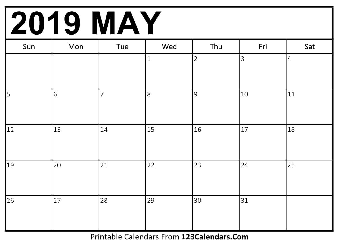 May Calendar 2019 Free Printable Calendar Templates And Holidays